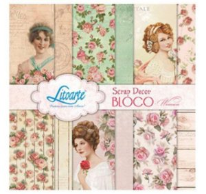 Bloco de papéis scrapbook 15x15 cm - Woman Damas - SBXV-012 - Litoarte