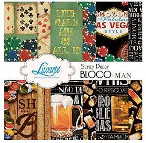Bloco de papéis scrapbook 15x15 cm - Man Homem Jogos - SBXV-019 - Litoarte