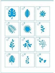 Mini Stencil STMI-008 - Folhas e Galhos com capa acrílico e argola - Litoarte