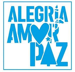 Stencil STNX-042 - Natal - Alegria, amor, paz - Litoarte