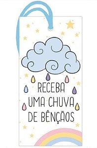 Tag decorativa em MDF com tira de camurça - Chuva de bençãos - Litoarte