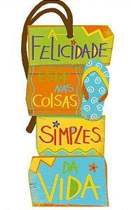 Tag decorativa em MDF com tira de camurça - Felicidade praiano - DHT2-148 - Litoarte