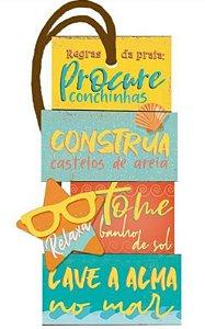 Tag decorativa em MDF com tira de camurça - Procure conchinhas - DHT2-149 - Litoarte