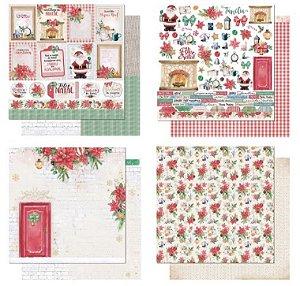 Kit com 4 papéis de scrapbook Natal Vermelho - Dupla-face- Litoarte