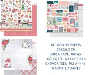 Kit com 3 papéis de scrapbook Natal Cinza - Dupla-face- Litoarte