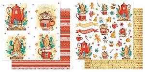 Kit com 2 papéis de scrapbook Natal Xícaras - Dupla-face- Litoarte