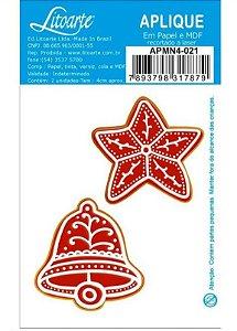 Aplique em MDF Natal - Biscoito, estrela e sino APMN4-021 - Litoarte