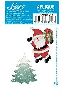 Aplique em MDF Natal - Papai Noel e Pinheiro APMN4-014 - Litoarte