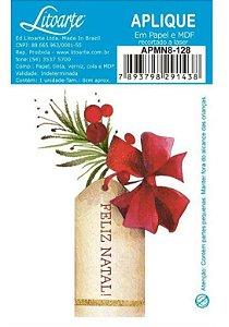Aplique em MDF Natal - Feliz natal Tag com laço - APMN8-128 - Litoarte