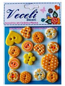 Kit botões Amarelo, com 15 botões sortidos - Veceli Botões