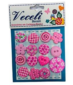 Kit botões Rosa, com 15 botões sortidos - Veceli Botões