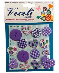 Kit botões Lilás, com 15 botões sortidos - Veceli Botões