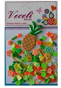 Kit mini apliques granulado PVC - Colorido abacaxi - Veceli Botões