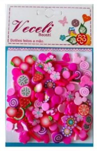 Kit mini apliques granulado PVC - Pink Frutinhas - Veceli Botões