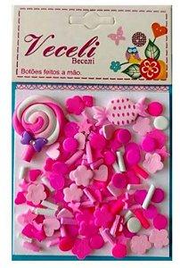 Kit mini apliques granulado PVC - Pink Pirulito - Veceli Botões