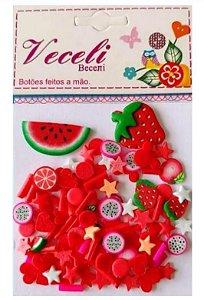 Kit mini apliques granulado PVC - Vermelho Morango - Veceli Botões