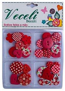 Kit botões tons VERMELHO, blister com 30 botões sortidos - Veceli Botões