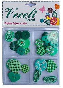 Kit botões tons Verde, blister com 30 botões sortidos - Veceli Botões
