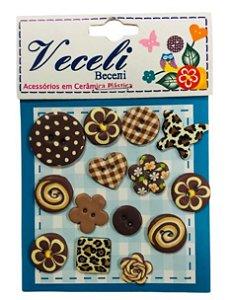 Kit botões Marrom, com 15 botões sortidos - Veceli Botões