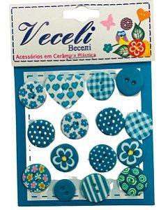 Kit botões Azul turquesa, com 15 botões sortidos - Veceli Botões