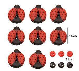 Kit botões Joaninhas, com 15 botões sortidos - Veceli Botões