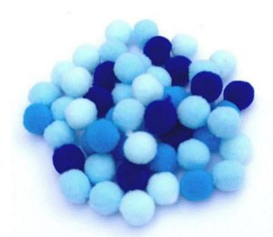 Kit mini pompom Azul - Importado