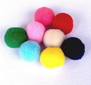 Kit pompom com 8 peças - Colorido 2cm - Importado
