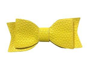 Aplique Laço de couro sintético Amarelo - Art e Montagem