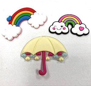 Kit apliques emborrachados arco iris e sombrinha - Importado