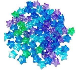 Kit estrelinhas transparente 6mm lilás, azul, verde - Importado