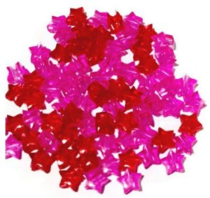 Kit estrelinhas transparente 6mm vermelha, rosa - Importado