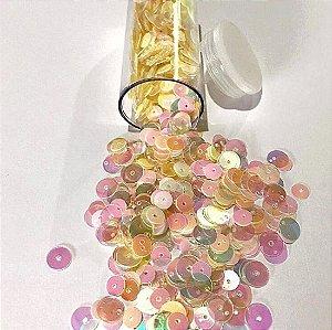 Paetê/lantejoulas tons dourado/transparente irisado - Importado