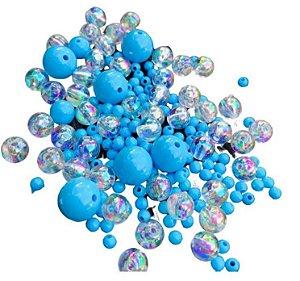 Kit bolinhas plásticas e de acrilico Azuis - Importado
