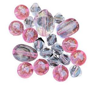 Kit apliques acrílico transparente e rosa - Importado