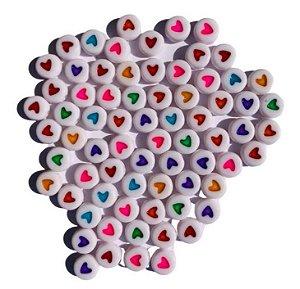 Kit miçangas, branco e colorido, corações redondo - Importado