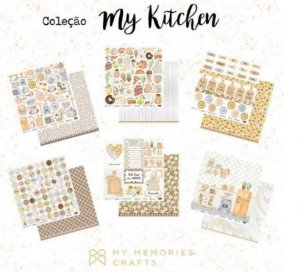Kit 6 papeis de scrapbook Cozinha - My Kitchen - My Memories Crafts