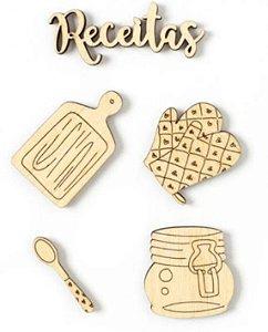 Kit de madeirinhas adesivadas Cozinha - My Kitchen - My Memories Crafts