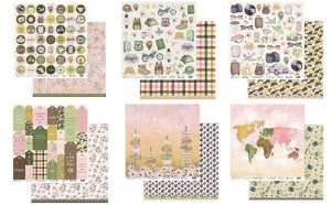 Kit 6 papeis scrapbook 30x30 coleção My Travel - Viagem - My Memories Crafts