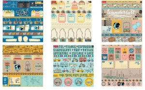 Kit 6 papeis scrapbook 30x30 coleção Viagem - Goodies