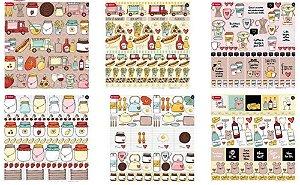 Kit 6 papeis scrapbook 30x30 coleção Kitchen -Cozinha - Goodies