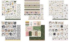 Kit 6 papeis scrapbook 30x30 coleção My Pets - Animais - My Memories Crafts