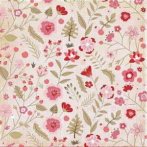 Papel de scrapbook Flores para Você - Sweet Love - Dany Peres