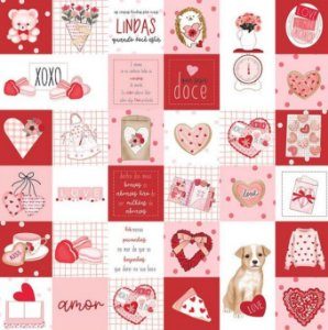 Papel de scrapbook Drops - Sweet Love - Dany Peres