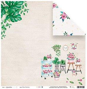 Papel de scrapbook Minhas Plantinhas - Quarentena Criativa - Juju Scrapbook