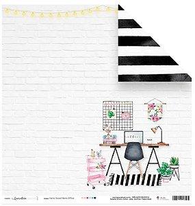 Papel de scrapbook Sweet home office - Quarentena Criativa - Juju Scrapbook