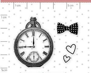 Carimbo Mini Relógio - Família para sempre - Juju Scrapbook