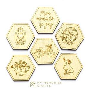 Kit de madeiras adesivadas hexagonais My Country Life - My Memories Crafts