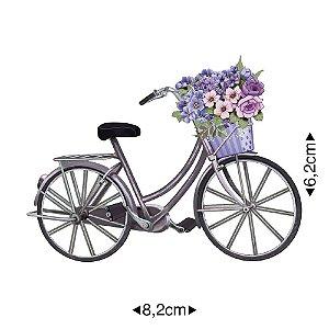 Aplique em MDF - Bicicleta c/ cesto de flores -  APM8-482 - Litoarte
