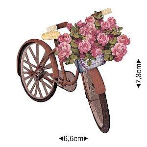Aplique em MDF - Bicicleta Flores -  APM8-1068 - Litoarte