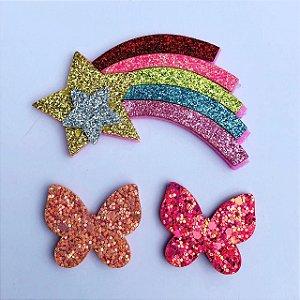 Kit apliques: c/ 02 borboletas em glitter + 01 estrela cadente